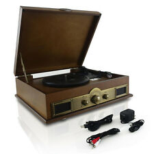 Pyle Vintage Classic Style Bluetooth Turntable Vinyl Record Player w/ AM/FM