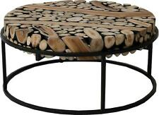 SAFARI COFFEE TABLE PADMAS PLANTATION RUSTIC ROUND BLACK POWDER-COATED TEAK