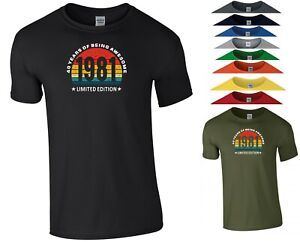 40th Birthday T Shirt Limited Edition 40 Years of Being Awesome Gift Men Tee Top