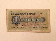 ~ British Ceylon 1939  One 1 Rupee George VI P 16c
