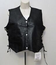 Genuine Leather Ladies Motorcycle Vest L Black Lace Up Sides Snap Front Lined