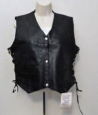 Genuine Leather Ladies Motorcycle Vest L Black Lace Up Sides Snap Front Line
