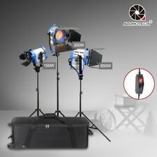 150W+300W+650W Built-in Dimmer Fresnel  Tungsten Spot light +case +Stands*3 Kit