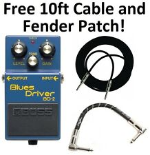 New Boss BD-2 Blues Driver Effect Pedal FREE 10ft Cable AND Fender Patch!