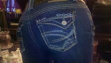 AMETHYST JEANS BOOTCUT SIZE 0 1 3 5 7 9  WITH A BROWN WEAVED STUDDED BELT