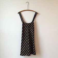 Victorias Secret Collection Silky Black Yellow Stripe Slip Neglige Sz L PERFECT