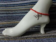 anklet stretchy silver beach Bug Dragonfly alloy charm ankle bracelet beads