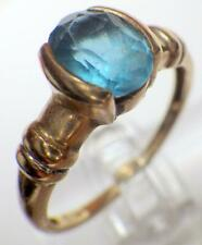 10K Yellow GOLD 1.25 Carat Oval Cut Blue Topaz Ring 2.375 Grams Size 7- Hallmark