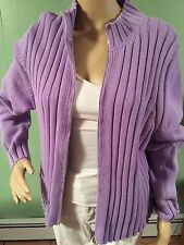 SPLENDOR gorgeous lavender thick ribbed knit zipper front sweater, 100% cotton,L