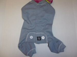 Grey Blue Dog Thermal Pajamas S XL Pjs new puppy pet Petrageous winter jumpsuit