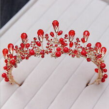 6.5cm High Red Pearl Crystal Adult Tiara Crown Wedding Prom Party Pageant