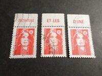 FRANCE 1993, LOT 3 timbres 2806, Marianne avec BANDELETTE, oblitérés, VF STAMPS