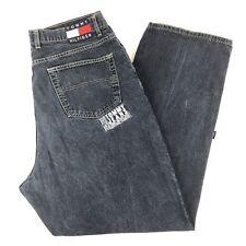 Vtg Tommy Hilfiger Mens Blue Spell Out Flag Loose Baggy Denim Zip Jeans 42 x 32