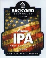BACKYARD BREWHOUSE (WALSALL) - CHINOOK IPA - PUMP CLIP FRONT