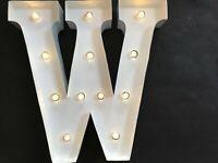 LED LIGHT CARNIVAL WHITE WEDDING CELEBRATION LETTER W - ALL METAL LARGE 33 CM