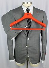 NWT ISAIA Gregory Charcoal Super 150's Aqualight Flat Front Suit 50 40 40R $4K!