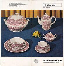 Prospekt Villeroy & Boch Mettlach ( Saar ) Fasan Rot Steingut Service 1969 !(D