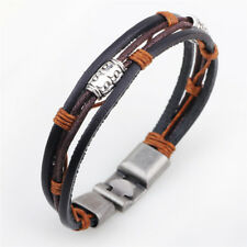 Handmade Leather Bracelet Punk Weave Cuff Wrap Bracelet Accessories Men Hi