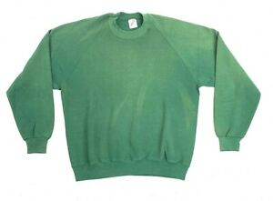 Vintage 80s Jerzees Forest Green Blank Sweatshirt Fader Size XL Made in USA