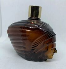Avon Vintage Brown Glass Head Indian Spicy After Shave Bottle Empty