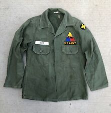 Vintage US Army Armored Force Division OG-107 Cotton Sateen Shirt with Patches