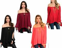 WOMENS LADIES OFF THE SHOULDER CHIFFON CUT OUT SLEEVE PARTY BLOUSE TOP 18 20 22