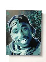2 Pac Blue Pac  graffiti painting Multi Layer Stencil Painting Tupac Art Hip Hop