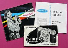Voigtländer Vito B Gebrauchsanleitung, Zubehör-Prospekt, Fotografier-Tipps