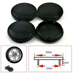 High Quality 4Pcs Car Wheel Center Hub Caps Decorative Cover 58mm/53mm Black ABS