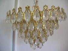 Lustre luminaire 3 feux laiton doré et pampilles en verre de 41 cm
