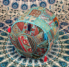 Vintage Pouf Ottoman Round Indian Ottoman Cover Poof Pouffe Foot Ethnic boho