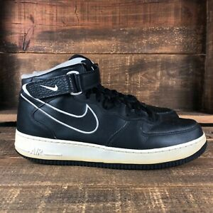Nike Mens Air Force 1 AQ8650-001 Black Mid Top Leather Running Shoes Size 12