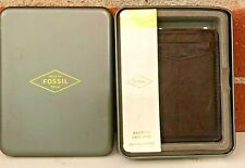 Fossil Magnetic Card Case Wallet Brown Textured Leather In Tin NWOT