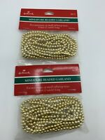 (2) packages - vintage Hallmark Gold beaded MINIATURE CHRISTMAS GARLAND NIP LOT