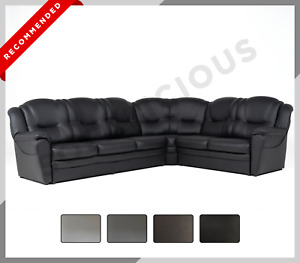 LARGE CORNER SOFA TEXAS  Faux Leather 6 Seater Right or Left black grey brown