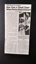 DOLLY PARTON...Greeted By Mayer Ed Koch Original Print Promo Pic/Text