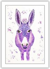 Donkey Purple - Watercolour Print Greeting Card - Birthday / Notelet / Blank