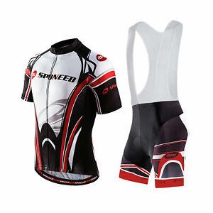 Cycling Jersey & Bib Shorts Set Men Padded Road Riding Tights Cyclist Uniforms L