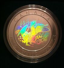 2002 Anniversary of the Loon Proof Hologram $5 Coin .9999 Fine Silver in Capsule