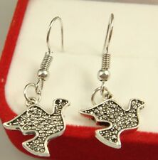 925 Silver Plated Hook -1 Pair Lovely Bird Animal Women Party Vogue Earrings d4l