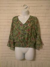 Junior's KAii Green Floral Blouse, Size M
