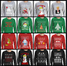 Ugly Christmas Long Sleeve Men's T-Shirt Sweater Style Funny Santa Merry Xmas