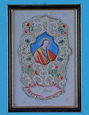 Spitzenbild-Andachtsbild 'Jesus' gestanzt-geschnitten-polychrom bemalt um 1800