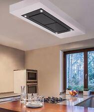 Dusk T2 Designer Black Glass Ceiling Cooker Hood 1400m3/h Motor