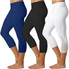 Women 3/4 Length Yoga Gym Leggings High Waist Capri Fitness Stretch Pants Sports