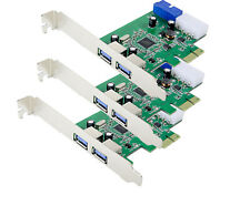 Lot of 3, USB 3.0 2-port, 19-pin Header PCI-e Card, IDE Power Feed, Low Profile