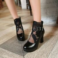 2017 New Women's Round Toe Mesh Floral Lace High Heels Dress Shoes Boots US Size
