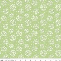 Summer Blush~White Flowers on Green Cotton Fabric by Riley Blake