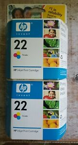 HP 22 Tri-Color Ink Cartridges LOT OF TWO Oct 2008 NEW BOXED SEALED