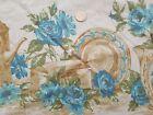 Vintage+Mid-Century+Cotton+Tablecloth+Blue+Roses+52x87